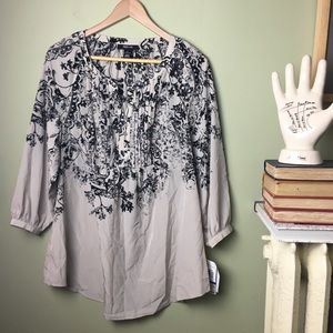NWT Style & Co Le Marais Pleated Top Blouse